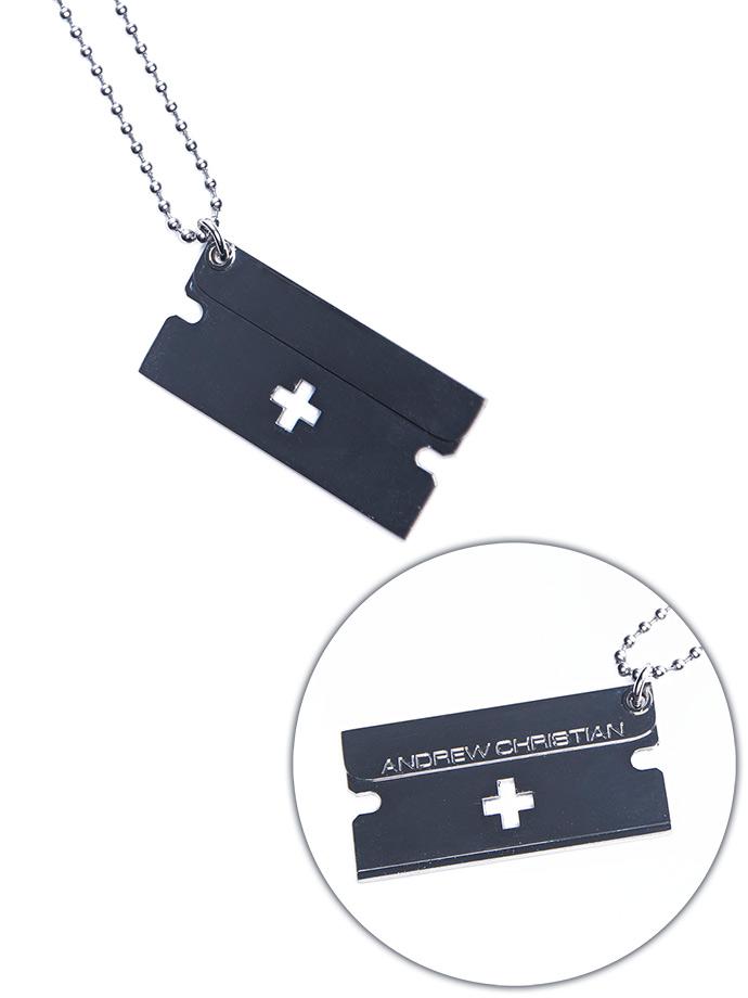 Andrew Christian - Rasierklingen-Anhänger mit Halskette