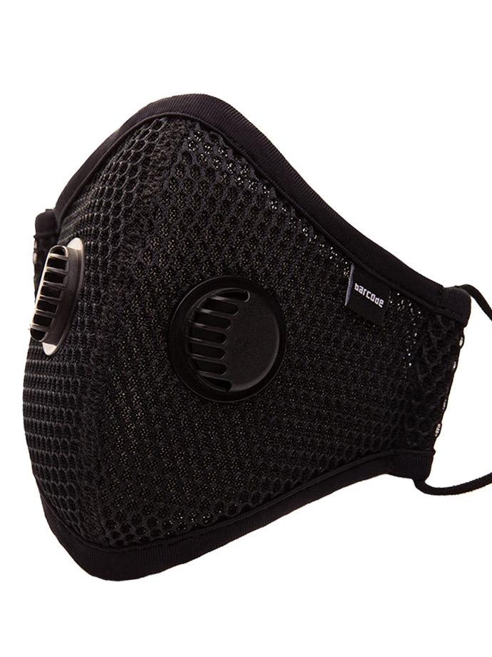 Barcode Berlin - Schutzmaske mit Filter und Luftventil - Schwarz