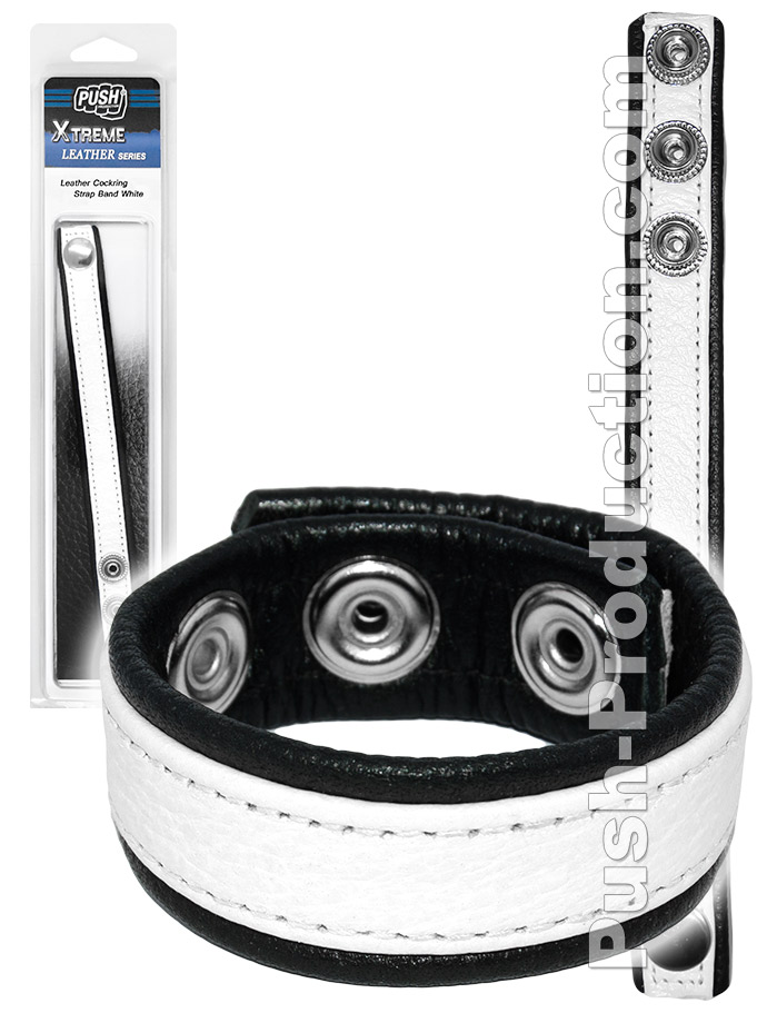Push Xtreme Leather - Leather Cockring Strap Band White